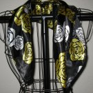Beautiful Black, Gold & White Rose Neck Scarf New! #D551