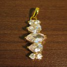 Brilliant Gold CZ Drop Pendant NEW! #D584