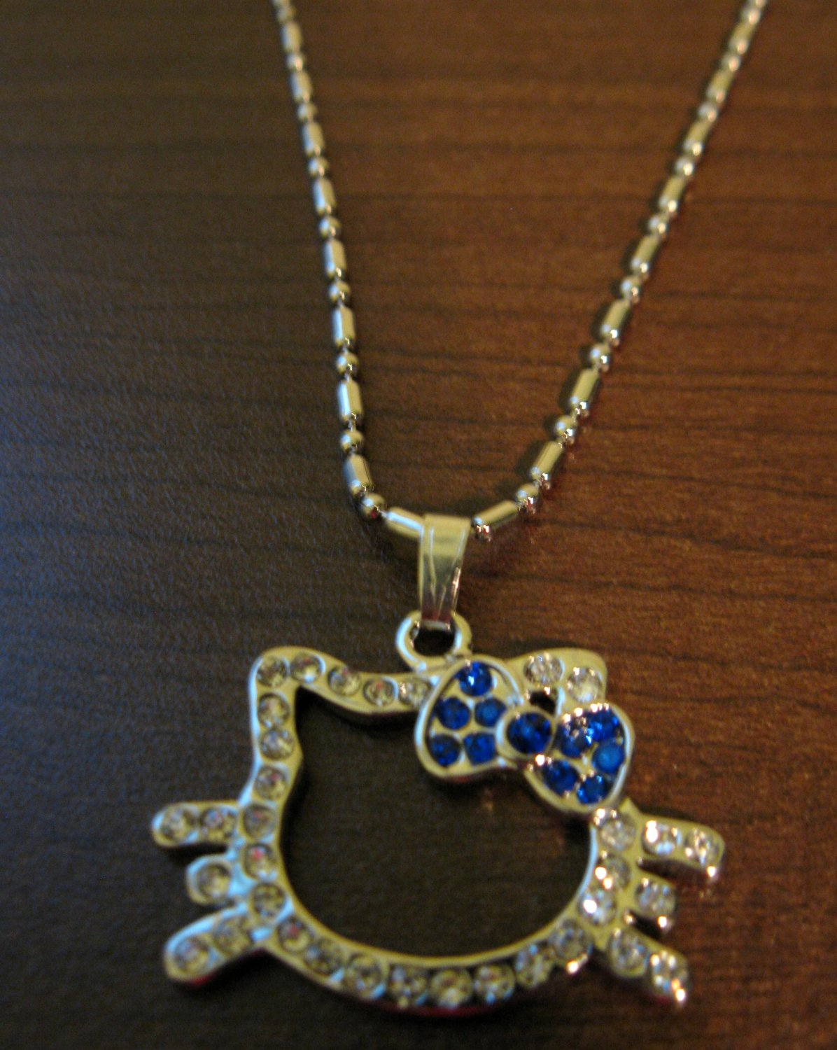 Dazzling Blue Sapphire & CZ Hello Kitty Face Necklace & Pendant NEW! #D594