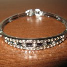 Classy Polished Silver Diamond Bangle Bracelet New #D516
