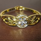 Sizzling Gold 6 Diamond Floral Bangle Bracelet New #D513