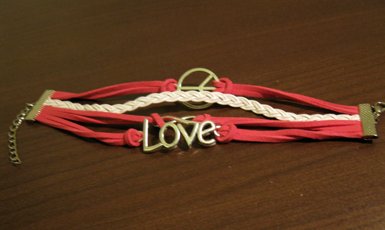 Red & White 4 Layer Leather Unisex Infinity Peace Love Charm Punk Bracelet #D501
