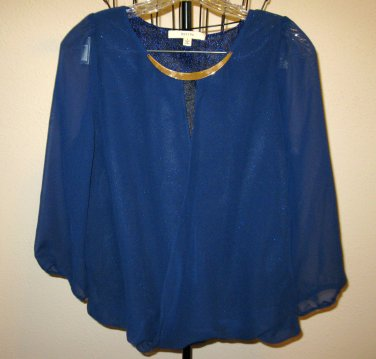 Navy Blue Gold Embellished Neckline Blouse Top by Rebive Size Large Nice! #X225