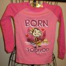 """Pink """"Born to Shop"""" Monkey Top by Joe Boxer Size 6 Nice! #X188"""