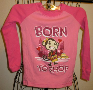 "Pink ""Born to Shop"" Monkey Top by Joe Boxer Size 6 Nice! #X188"