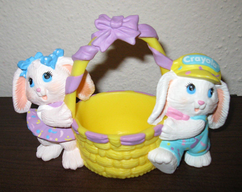 Colorful Crayola Bunny & Candy Cotton Tail Figurine Hallmark 1991 Nice #T1007