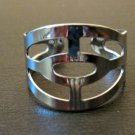 Beautiful Silver Stylish Adjustable Ring Size 8 NEW! #D556A