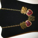 Gorgeous Chunky Gold with Red Gemstones Bib Necklace New & Hot! #D684