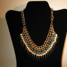 Beautiful Chunky Gold Multi-Colored Gemstone Bid Necklace New & Hot! #D686