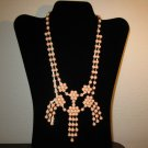 Lovely Pink Flower Tassel Bib Necklace New & Hot! #D648