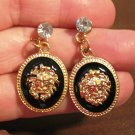 Gold With Blue Topaz Lionhead Pierced Earrings New! #D629
