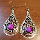 Tibetan Silver Purple Turquoise Teardrop Pierced Earrings New! #D627