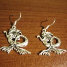 Earrings Pierced Tibetan Silver Mermaid Charm 1.5 in NEW #D627