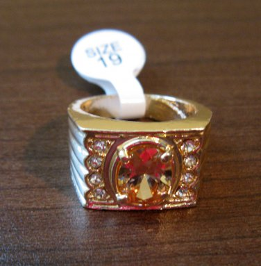 Beautiful Men�s Gold Peach Topaz Ring Size 9 NEW! #D574B