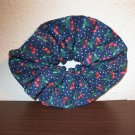 Navy Blue Cotton Scrunchie with Cherry Design New! #D806