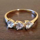 Beautiful Gold Triple Triangle CZ Band Ring Size 8 NEW! #D563