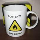 "White ""Contents May Be Hot"" Coffee Mug By NPW New In Box #R16"