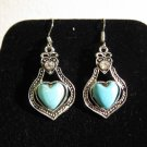 Lovely Silver Blue Turquoise Heart Earrings Pierced Earrings 1.75 in New! #D775