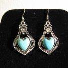Lovely Silver Blue Turquoise Heart Earrings Pierced Earrings 1.75 in New! #D775