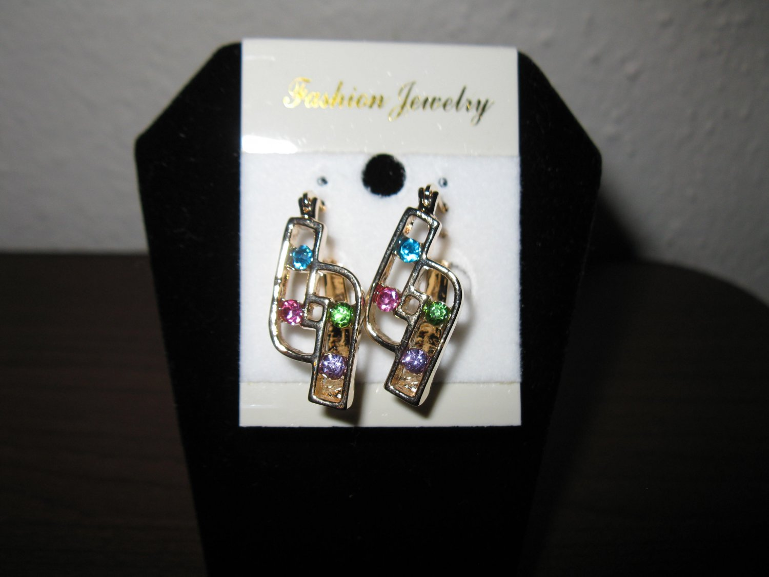 Gorgeous Colors of Sapphire Gold Pierced Earrings 1.25 in New! #D763
