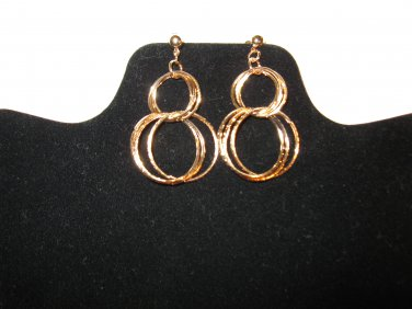 Gorgeous Gold Double Ring Pierced Earrings 2.5 in New! #D728