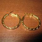 Stylish Polish Gold Hoop Earrings Beautiful & New #D695