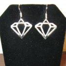 Beautiful Diamond Shape Charm Silver Earrings 1.25 in New! #D923