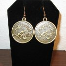 Unique Zodiac Aquarius Coin Earrings 1.75 in New! #D929