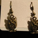 Bronze Owl Charm Pierced Earrings NEW #D908