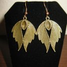 Beautiful Golden Bronze Feather Charm Earrings 2 in New! #D936