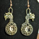 Beautiful Golden Bronze GBP Money Bag Charm Earrings 2 in New! #D935
