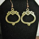 Beautiful Golden Bronze Flower Ornament Charm Earrings 1.5 in New! #D934