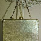 Lovely Gold Metallic Evening Bag Purse Nice! #D1005
