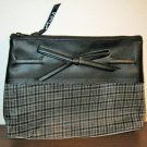 Black Plaid Cosmetic Makeup Bag Clutch Purse by Signature Club A New! #D1001