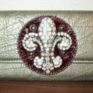 Beautiful Pewter Bling (Silver) Fleur de Lis Wallet New! #D997
