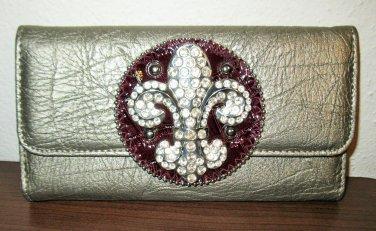 Beautiful Pewter Bling (Silver) Fleur de Lis Wallet New! #D997