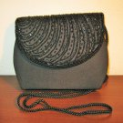 Black Beaded Evening Purse Handbag New! #D996