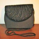 Black Beaded Evening Purse Handbag New! #D996