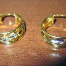 Pretty Yellow & White Gold Florentine Hoop Earrings 1 in New! #D980