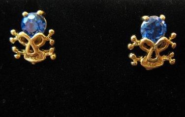 Hot Gold Skull & Blue Sapphire Stud Earrings 0.5 in New! #D987