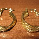 Lovely Gold Twist Hoop Earrings 1.25 in New! #D979