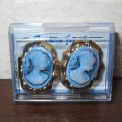 Gold Blue Cameo Lady Pierced Earrings Beautiful & New #D943