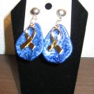 Lovely Gold & Blue FOR THE CAUSE Drop Earrings New! #D905