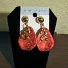 Chic Gold & Red Personalized Letter S Drop Earrings New! #D904