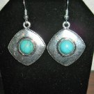 Stunning Silver Turquoise Square Earrings New! #D899