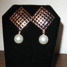 Lovely White Pearl Square Gold Stud Earrings Nice Luster New! #D897
