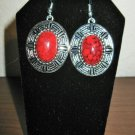 Beautiful Red Howlite Oval Earrings 2 in New! #D895