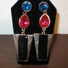 Chic Blue Sapphire & Pink Topaz Earrings New! #D888