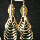Chic Large Gold Double Teardrop Earrings New! #D887