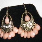 Sexy Teardrop Peach Opalite Earrings New! #D885